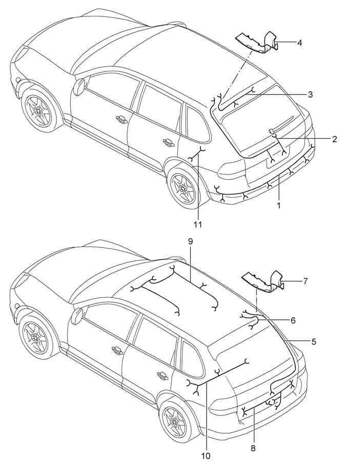 Porsche Cayenne Wiring Harness Right Rear Window  Rear