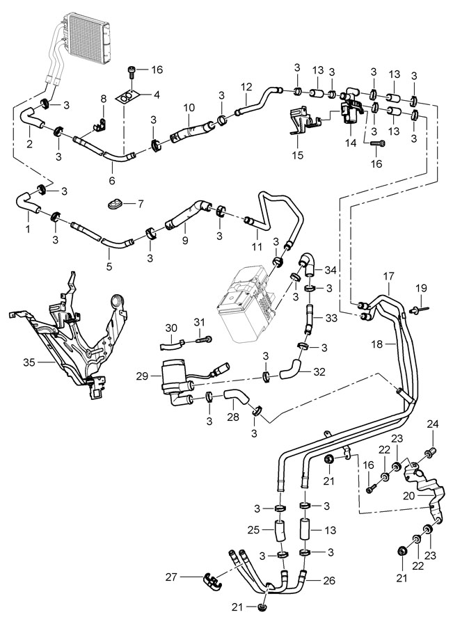 2009 porsche cayenne heating with auxiliary heater feed line return line