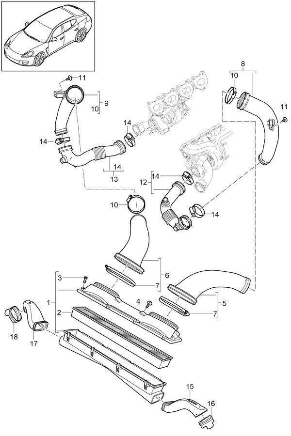 2010 porsche panamera intake manifold  wturbocharger