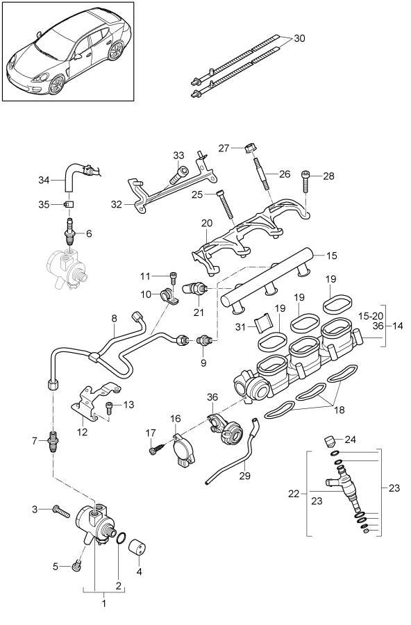 porsche panamera vacuum unit repair kit  injector