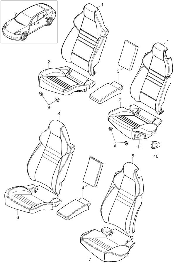 2010 porsche panamera seat cushion clip