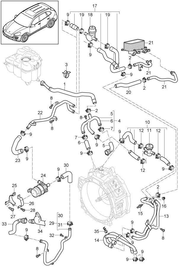 Porsche Cayenne With Water Hose Vacuum Valve  Assy