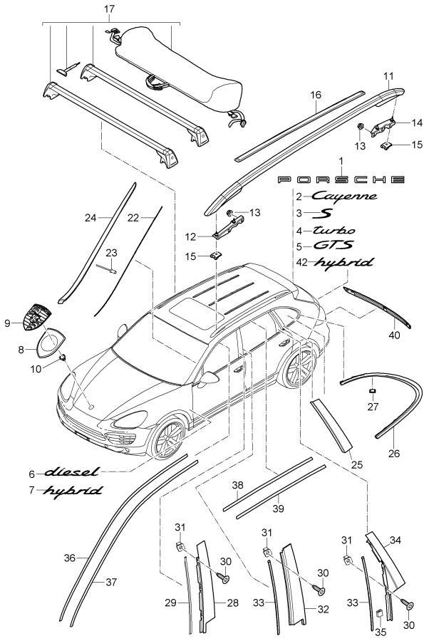 Porsche Cayenne Roof Transport System Rack 95804400010