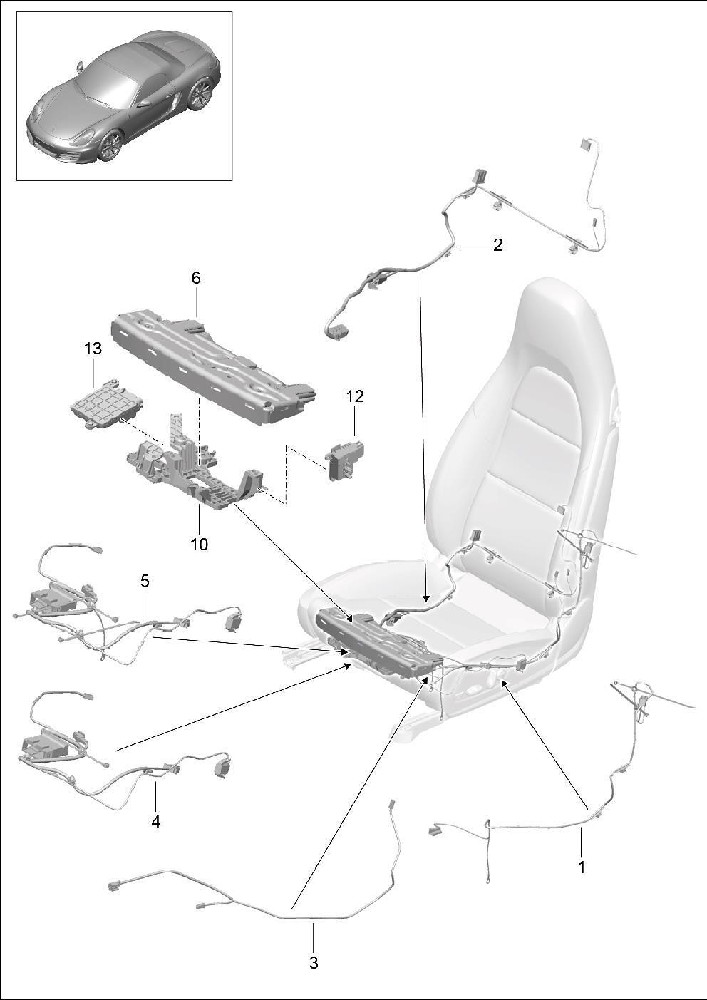 Porsche Cayman Wiring Harness Tilt Angle Backrest Frame