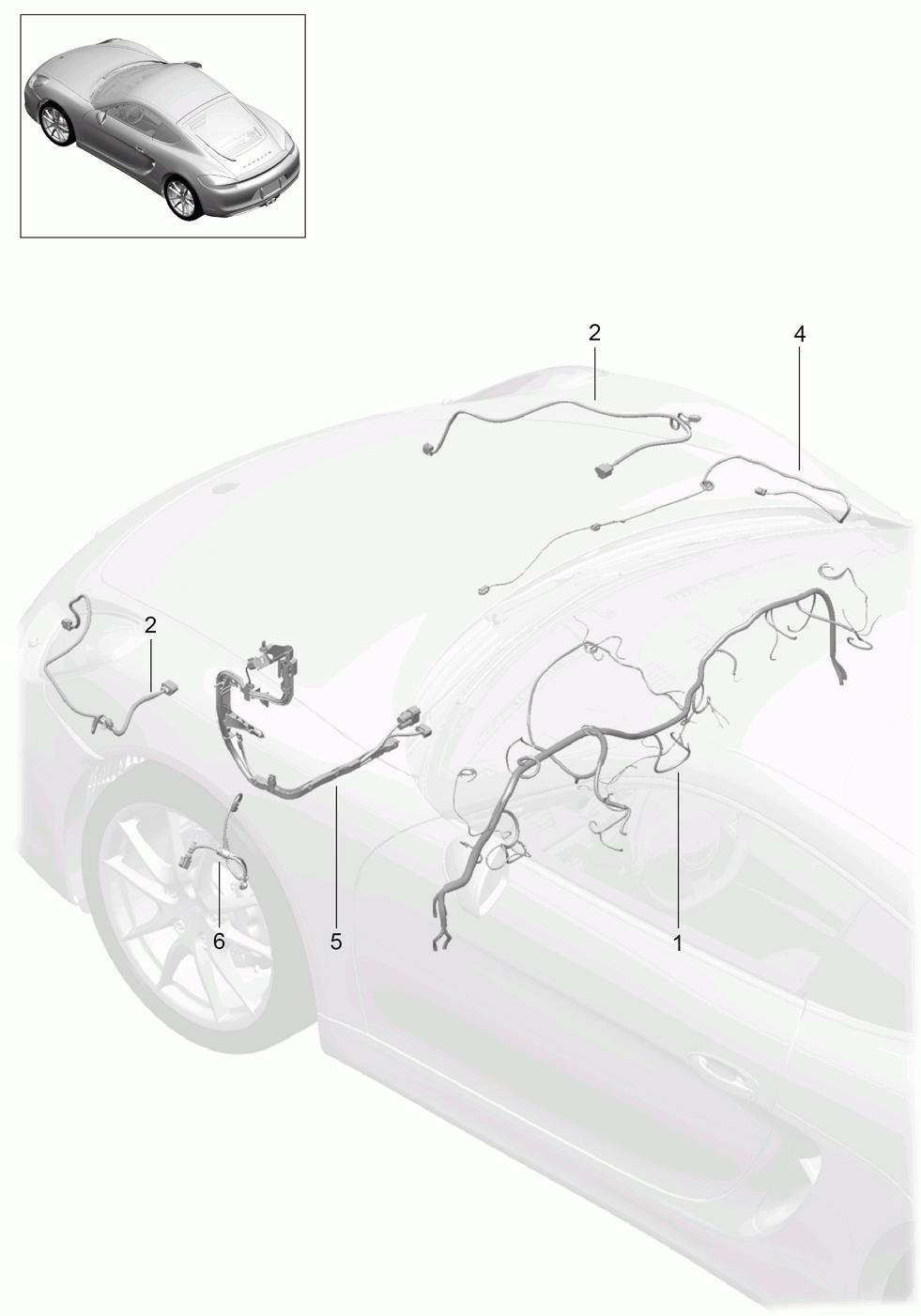 Porsche Cayman Wiring Harness Right Lining Front