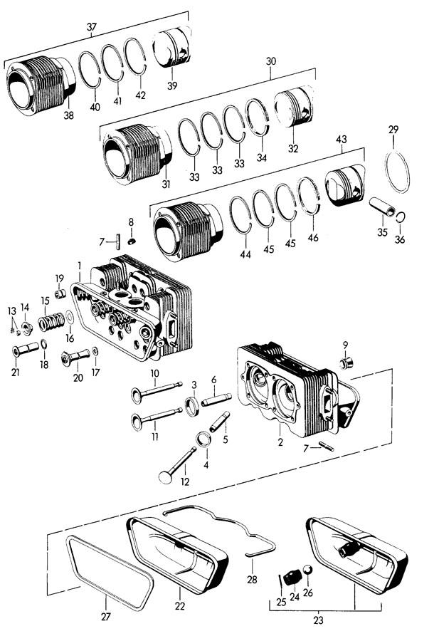 Porsche 356b  356c When Required Order Also  Cylinder With Piston Cylinder Base Gasket