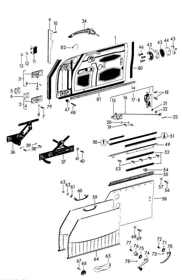 Porsche 356b  356c With Intermediate Plate Hole Door Lock