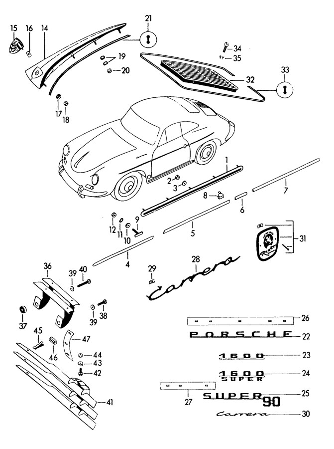 Porsche 356b  356c Washer  Apron